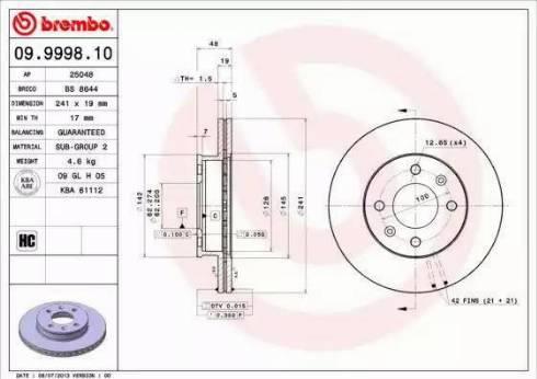 Brembo 09.9998.10 - Bremžu diski interparts.lv