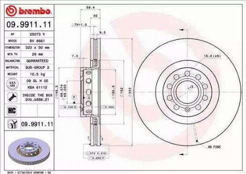Brembo 09.9911.11 - Bremžu diski interparts.lv