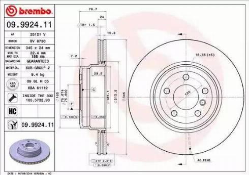 Brembo 09.9924.11 - Bremžu diski interparts.lv