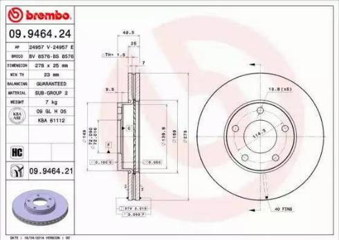 Brembo 09.9464.21 - Bremžu diski interparts.lv