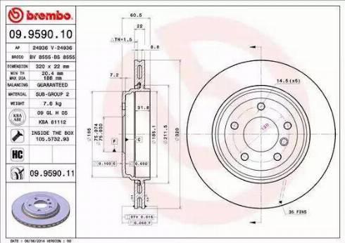 Brembo 09.9590.11 - Bremžu diski interparts.lv