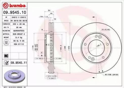 Brembo 09.9545.11 - Bremžu diski interparts.lv