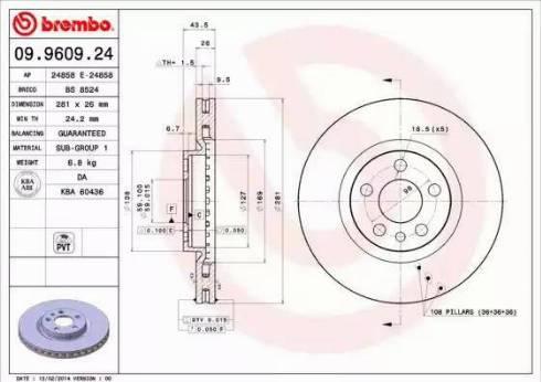 Brembo 09.9609.24 - Bremžu diski interparts.lv