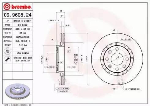 Brembo 09.9608.24 - Bremžu diski interparts.lv
