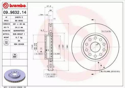 Brembo 09.9632.14 - Bremžu diski interparts.lv