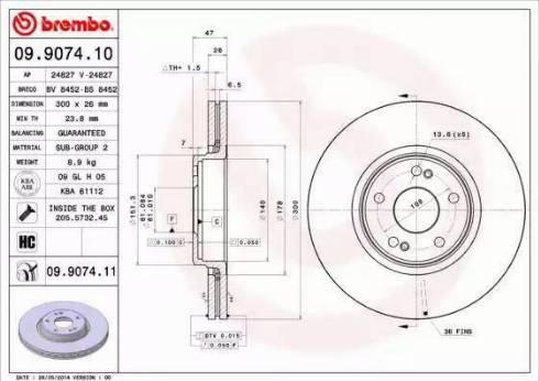 Brembo 09.9074.11 - Bremžu diski interparts.lv