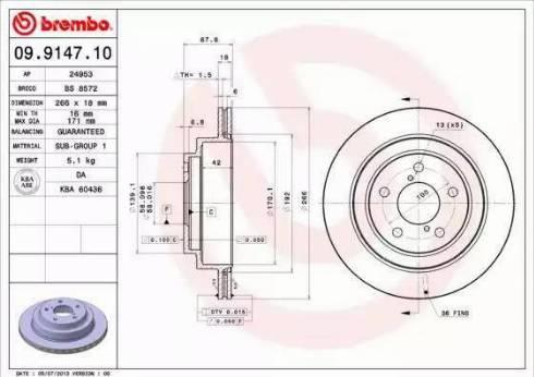 Brembo 09.9147.10 - Bremžu diski interparts.lv