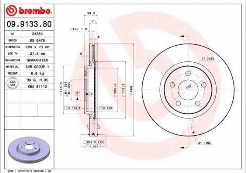 Brembo 09.9133.81 - Bremžu diski interparts.lv