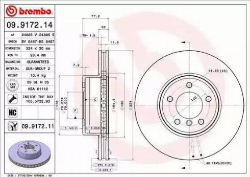 Brembo 09.9172.11 - Bremžu diski interparts.lv