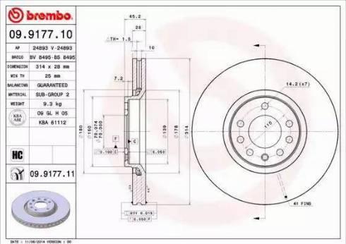 Brembo 09.9177.11 - Bremžu diski interparts.lv