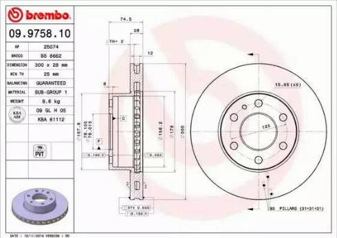 Brembo 09.9758.10 - Bremžu diski interparts.lv