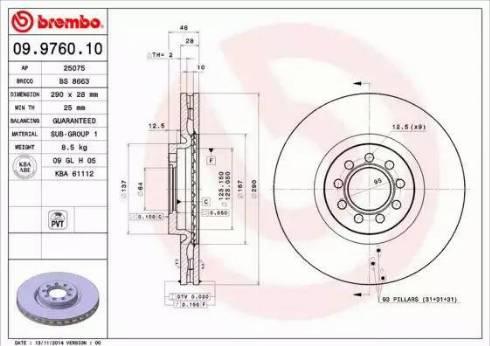 Brembo 09.9760.10 - Bremžu diski interparts.lv