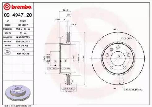 Brembo 09.4947.20 - Bremžu diski interparts.lv