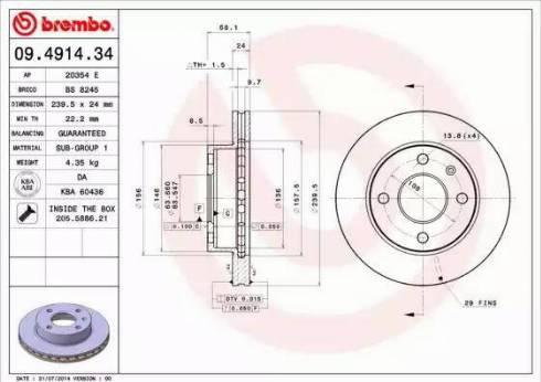 Brembo 09.4914.34 - Bremžu diski interparts.lv