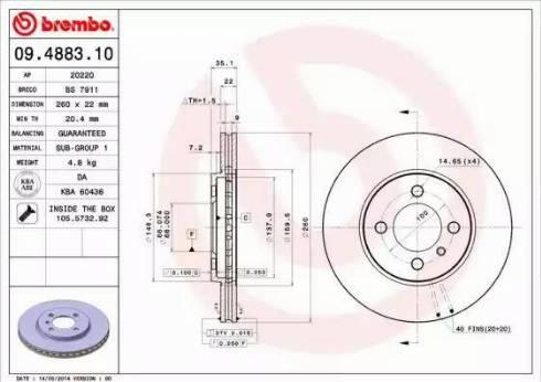 Brembo 09.4883.10 - Bremžu diski interparts.lv