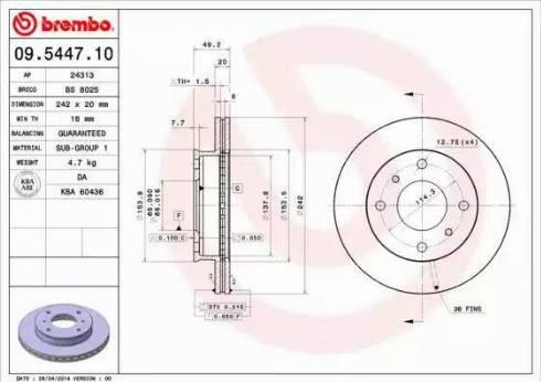 Brembo 09.5447.10 - Bremžu diski interparts.lv