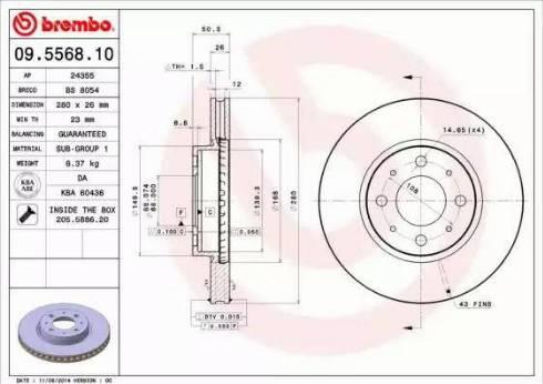 Brembo 09.5568.10 - Bremžu diski interparts.lv