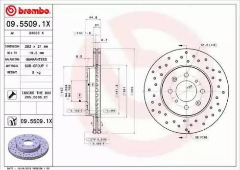 Brembo 09.5509.1X - Bremžu diski interparts.lv