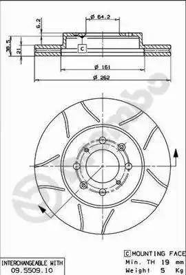 Brembo 09.5509.75 - Bremžu diski interparts.lv