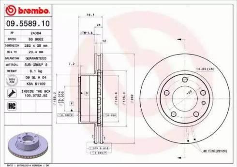 Brembo 09.5589.10 - Bremžu diski interparts.lv