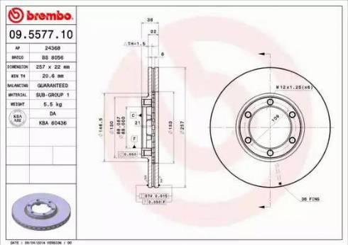 Brembo 09.5577.10 - Bremžu diski interparts.lv