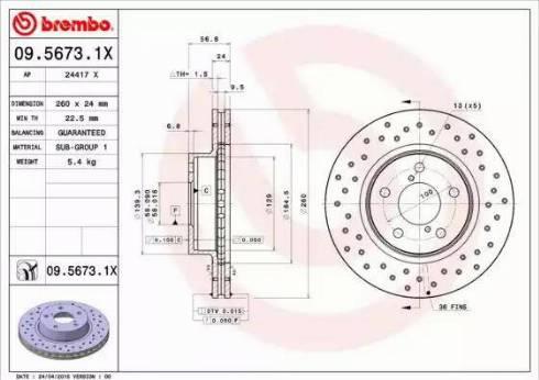 Brembo 09.5673.1X - Bremžu diski interparts.lv