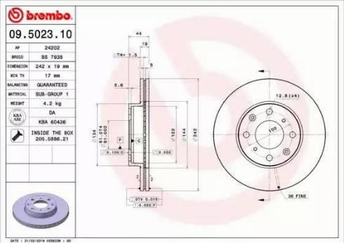 Brembo 09.5023.10 - Bremžu diski interparts.lv
