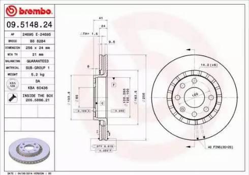Brembo 09.5148.24 - Bremžu diski interparts.lv