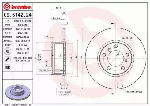 Brembo 09.5142.24 - Bremžu diski interparts.lv