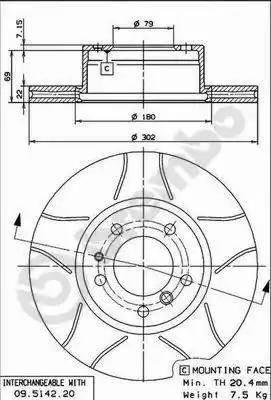 Brembo 09.5142.76 - Bremžu diski interparts.lv