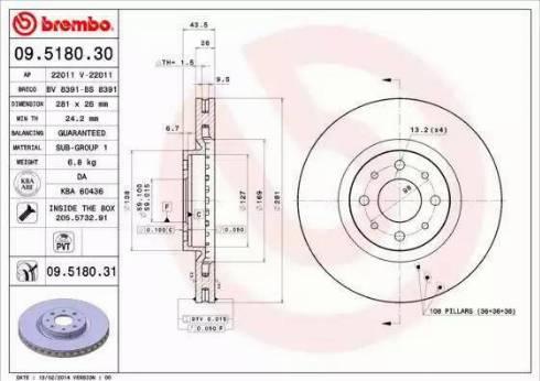 Brembo 09.5180.31 - Bremžu diski interparts.lv