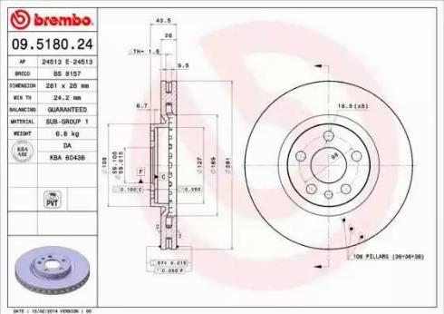 Brembo 09.5180.24 - Bremžu diski interparts.lv
