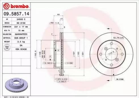 Brembo 09.5857.14 - Bremžu diski interparts.lv