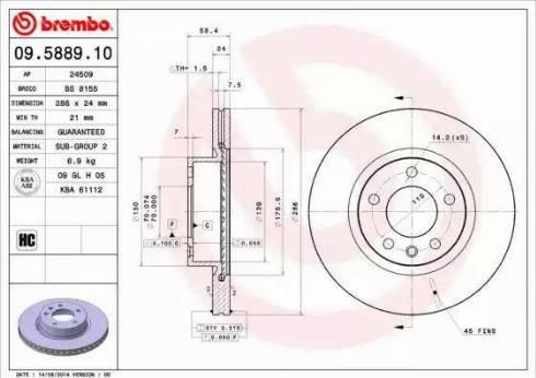 Brembo 09.5889.10 - Bremžu diski interparts.lv