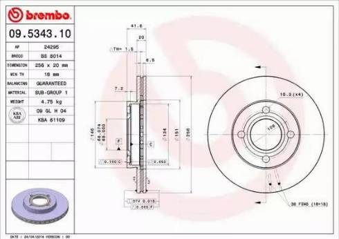 Brembo 09.5343.10 - Bremžu diski interparts.lv