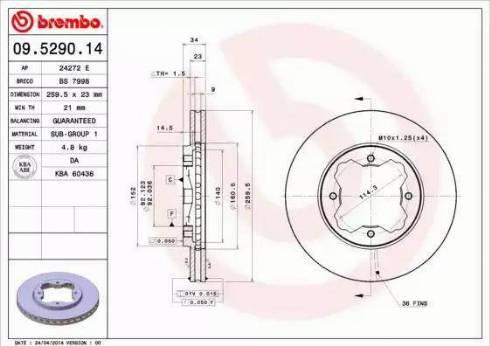 Brembo 09.5290.14 - Bremžu diski interparts.lv