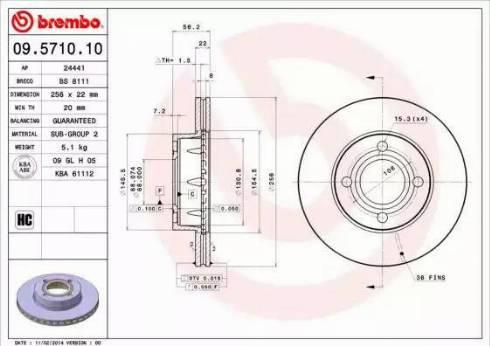 Brembo 09.5710.10 - Bremžu diski interparts.lv