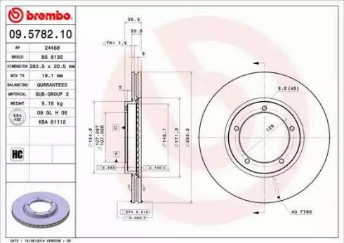 Brembo 09.5782.10 - Bremžu diski interparts.lv