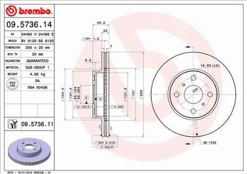 Brembo 09.5736.11 - Bremžu diski interparts.lv