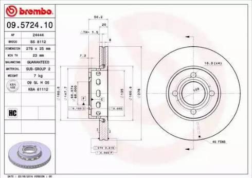 Brembo 09.5724.10 - Bremžu diski interparts.lv