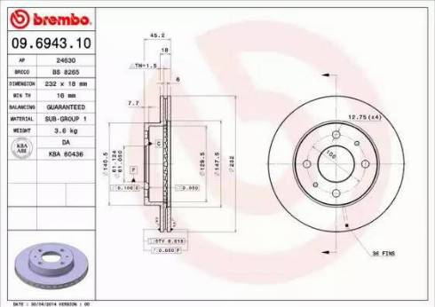 Brembo 09.6943.10 - Bremžu diski interparts.lv