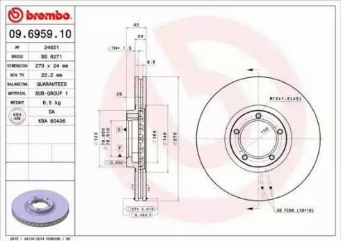 Brembo 09.6959.10 - Bremžu diski interparts.lv
