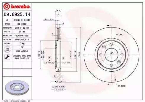 Brembo 09.6925.14 - Bremžu diski interparts.lv