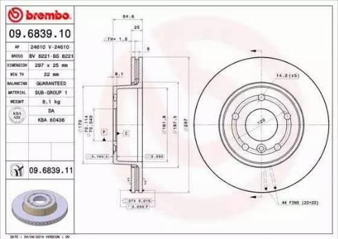 Brembo 09.6839.11 - Bremžu diski interparts.lv