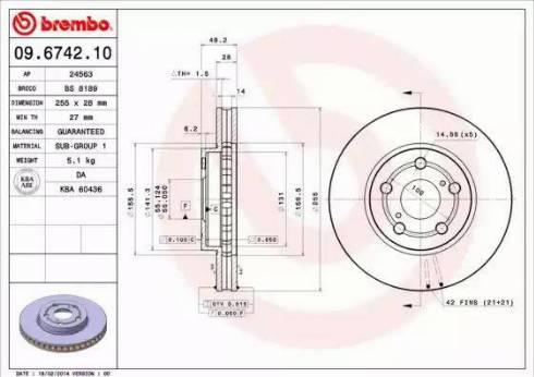Brembo 09.6742.10 - Bremžu diski interparts.lv