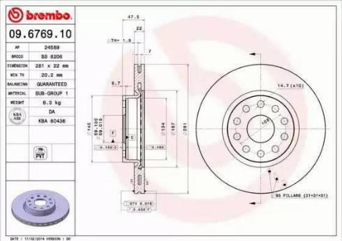 Brembo 09.6769.10 - Bremžu diski interparts.lv