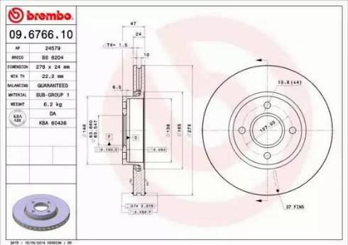 Brembo 09.6766.10 - Bremžu diski interparts.lv