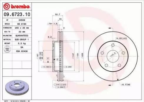 Brembo 09.6723.10 - Bremžu diski interparts.lv