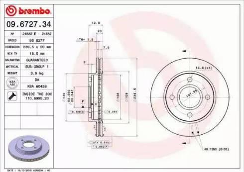 Brembo 09.6727.34 - Bremžu diski interparts.lv