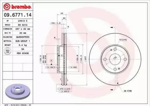 Brembo 09.6771.14 - Bremžu diski interparts.lv